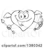 Clipart Of A Black And White Lineart Heart Character Cupid Holding A Bow And Arrow Royalty Free Vector Illustration by Hit Toon