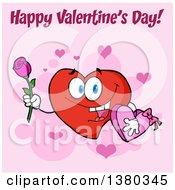Clipart Of A Happy Valentines Day Greeting Over A Heart Character Holding A Rose And Candy Box On Pink Royalty Free Vector Illustration
