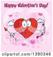 Clipart Of A Happy Valentines Day Greeting Over A Heart Character Cupid Holding A Bow And Arrow On Pink Royalty Free Vector Illustration by Hit Toon