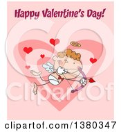 Clipart Of A Happy Valentines Day Greeting Over An Aiming Stick Cupid On Pink Royalty Free Vector Illustration