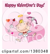 Clipart Of A Happy Valentines Day Greeting Over A Stick Cupid On Pink Royalty Free Vector Illustration