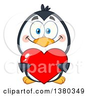Clipart Of A Cute Valentines Day Penguin Holding A Love Heart Royalty Free Vector Illustration by Hit Toon