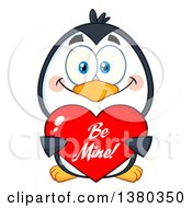 Clipart Of A Cute Valentines Day Penguin Holding A Be Mine Love Heart Royalty Free Vector Illustration by Hit Toon