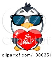 Clipart Of A Cute Valentines Day Penguin Wearing Sunglasses And Holding A Be Mine Love Heart Royalty Free Vector Illustration by Hit Toon