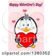 Clipart Of A Happy Valentines Day Greeting Over A Cute Day Penguin Holding A Love Heart Over Pink Royalty Free Vector Illustration by Hit Toon