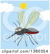 Clipart Of A Grinning Evil Mosquito Against Sky Royalty Free Vector Illustration by Hit Toon