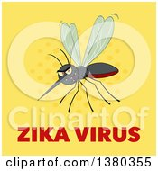Clipart Of A Grinning Evil Mosquito Over Zika Virus Text On Yellow Royalty Free Vector Illustration