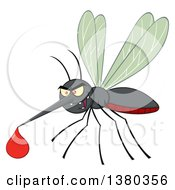 Clipart Of A Grinning Evil Mosquito With A Blood Drop Royalty Free Vector Illustration