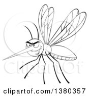 Clipart Of A Black And White Lineart Grinning Evil Mosquito Royalty Free Vector Illustration by Hit Toon