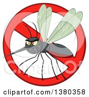 Clipart Of A Grinning Evil Mosquito In A Prohibited Symbol Royalty Free Vector Illustration