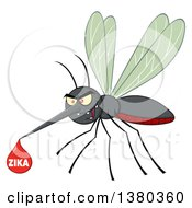 Clipart Of A Grinning Evil Mosquito With A Zika Virus Blood Drop Royalty Free Vector Illustration