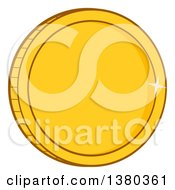 Clipart Of A Shiny Gold Coin Royalty Free Vector Illustration