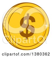 Clipart Of A Shiny Gold USD Dollar Coin Royalty Free Vector Illustration by Hit Toon