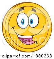 Clipart Of A Happy Gold Coin Character Royalty Free Vector Illustration by Hit Toon