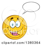 Clipart Of A Happy Talking Gold Coin Character Royalty Free Vector Illustration