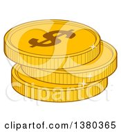 Clipart Of A Stack Of USD Dollar Gold Coins Royalty Free Vector Illustration