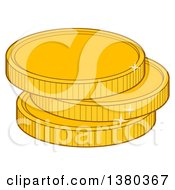 Clipart Of A Stack Of Gold Coins Royalty Free Vector Illustration