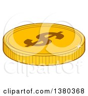 Clipart Of A Shiny Gold USD Dollar Coin Royalty Free Vector Illustration