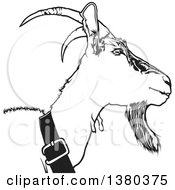 Clipart Of A Grayscale Goat Royalty Free Vector Illustration