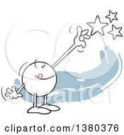 Clipart Of A Moodie Character Reaching For The Stars Over Blue Royalty Free Vector Illustration