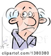Clipart Of A Senior Man Hearing A Pin Drop In The Silence Royalty Free Vector Illustration