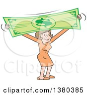 Pleased Brunette Caucasian Woman Stretching The Dollar