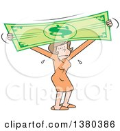 Clipart Of A Stressed Brunette Caucasian Woman Stretching The Dollar Royalty Free Vector Illustration