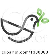 Clipart Of A Dark Gray Peace Dove Flying With A Branch Royalty Free Vector Illustration by elena