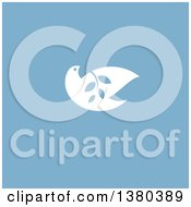 Clipart Of A White Peace Dove Flying With A Branch Over Blue Royalty Free Vector Illustration by elena