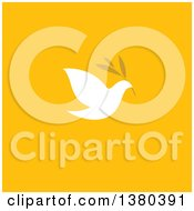 Clipart Of A White Peace Dove Flying With A Branch Over Yellow Royalty Free Vector Illustration by elena
