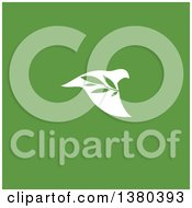Clipart Of A White Peace Dove Flying With A Branch Over Green Royalty Free Vector Illustration by elena