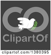 Clipart Of A White Peace Dove Flying With A Branch Over Dark Gray Royalty Free Vector Illustration by elena