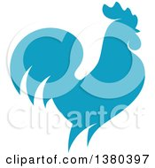 Clipart Of A Blue Rooster In Profile Royalty Free Vector Illustration by elena