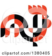 Clipart Of A Black White And Red Abstract Rooster In Profile Royalty Free Vector Illustration by elena