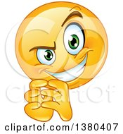 Yellow Cartoon Emoticon Smiley Face Emoji Making A Sneaky Expression