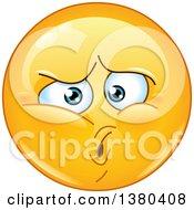Clipart Of A Hurt Yellow Cartoon Emoticon Smiley Face Emoji Royalty Free Vector Illustration