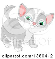 Clipart Of A Cute Green Eyed Gray And White Tabby Cat Kitten Royalty Free Vector Illustration