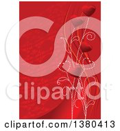 Red Valentines Day Background Of Heart Flowers Over Swooshes And A Pattern