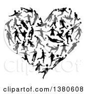 Clipart Of A Heart Formed Of Black Silhouetted Soccer Players Royalty Free Vector Illustration by AtStockIllustration
