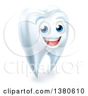 Clipart Of A 3d Happy White Tooth Character Smiling Royalty Free Vector Illustration by AtStockIllustration