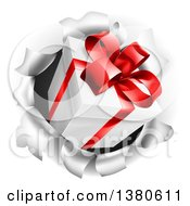 Clipart Of A 3d Gift Box Breaking Through A Wall Royalty Free Vector Illustration by AtStockIllustration