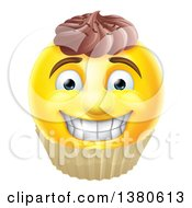 Clipart Of A 3d Yellow Male Smiley Emoji Emoticon Face Cupcake Royalty Free Vector Illustration