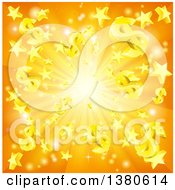Clipart Of A 3d Orange Burst Of Dollar Currency Symbols And Stars Royalty Free Vector Illustration
