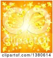 3d Orange Burst Of Dollar Currency Symbols And Stars