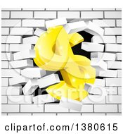 3d Gold Dollar Currency Symbol Breaking Through A White Brick Wall