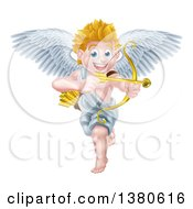 Clipart Of A Happy Blond Caucasian Valentines Day Cupid Smiling And Aiming An Arrow Royalty Free Vector Illustration by AtStockIllustration