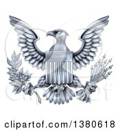 Clipart Of A Silver Great Seal Of The United States Bald Eagle With An American Flag Shield Holding An Olive Branch And Silver Arrows Royalty Free Vector Illustration by AtStockIllustration
