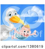 Stork Bird Holding A Happy Baby Boy In A Blue Bundle Against Sky