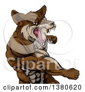 Clipart Of A Punching Brown Muscular Coyote Man Royalty Free Vector Illustration by AtStockIllustration