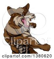 Punching Brown Muscular Coyote Man